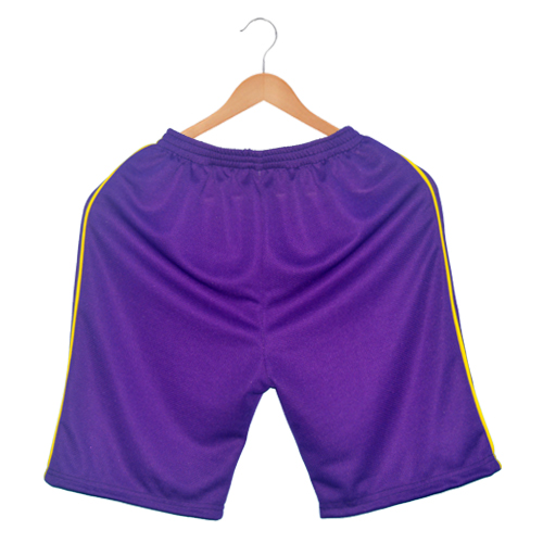 Polyester Men's sports shorts-purple with yellow stripes